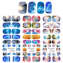 3 Sheets charming And fantasy Sky Universe full cover water transfer Nai Art Stickers Decal Mysterious Colors  Whole Sale