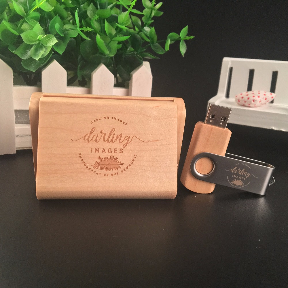 ODM OEM Custom Wedding Photography Encord LOGO Wooden Clip + Box USB 2.0 Version memory flash stick pen drive A0001 1
