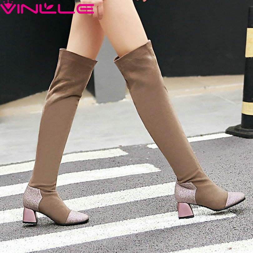 VINLLE 2017 Autumn Winter Shoes PU+Flock Women Shoes Square Med Heel Over The Knee Boots Mixed Color Women Long Boots Size 34-42<br><br>Aliexpress