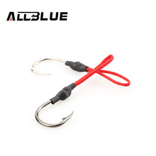 ALLBLUE 10pcs Stainless Steel Jigging Spoon Fishing Hook With PE Line Saltwater Jig Assist Fishhook For Sea Fishing Size 1/0-4/0