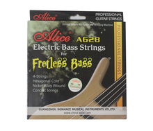 Alice A628 Flat Wound Hexagonal Core Nickel Alloy Wound Gold Ball-End 4-Strings Fretless Electric Bass Strings