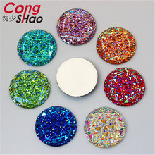 Cong Shao 30Pcs 30mm AB Color Round Shape Resin Rhinestones Crystal Flatback Buttons Beads For Jewelry Accessories Crafts ZZ521(China)