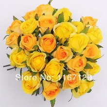 Free Shipping,New style 26 Heads/Bunch yellow&orange Artificial Silk Flower Roses Posy Wedding Bridal Bouquet Flowers 25cm(HT33)(China)