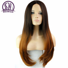 MSIWIGS Brazilian Natural Wave Synthetic Wigs Womens Ombre Blonde Wig Heat Resistant Long Natural Hair