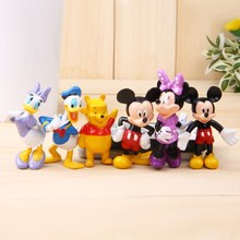 6PCS/SET Mickey Minnie Donald Duck Daisy Winnie Cute Figurines Anime PVC Action Figure Kids Toys for Boys Girls