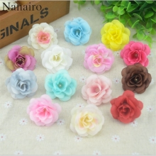 50 Pcs 4.5cm Handmade Mini Artificial Silk Rose Flowers Heads DIY Scrapbooking Flower Kiss Ball For Wedding Decorative(China)