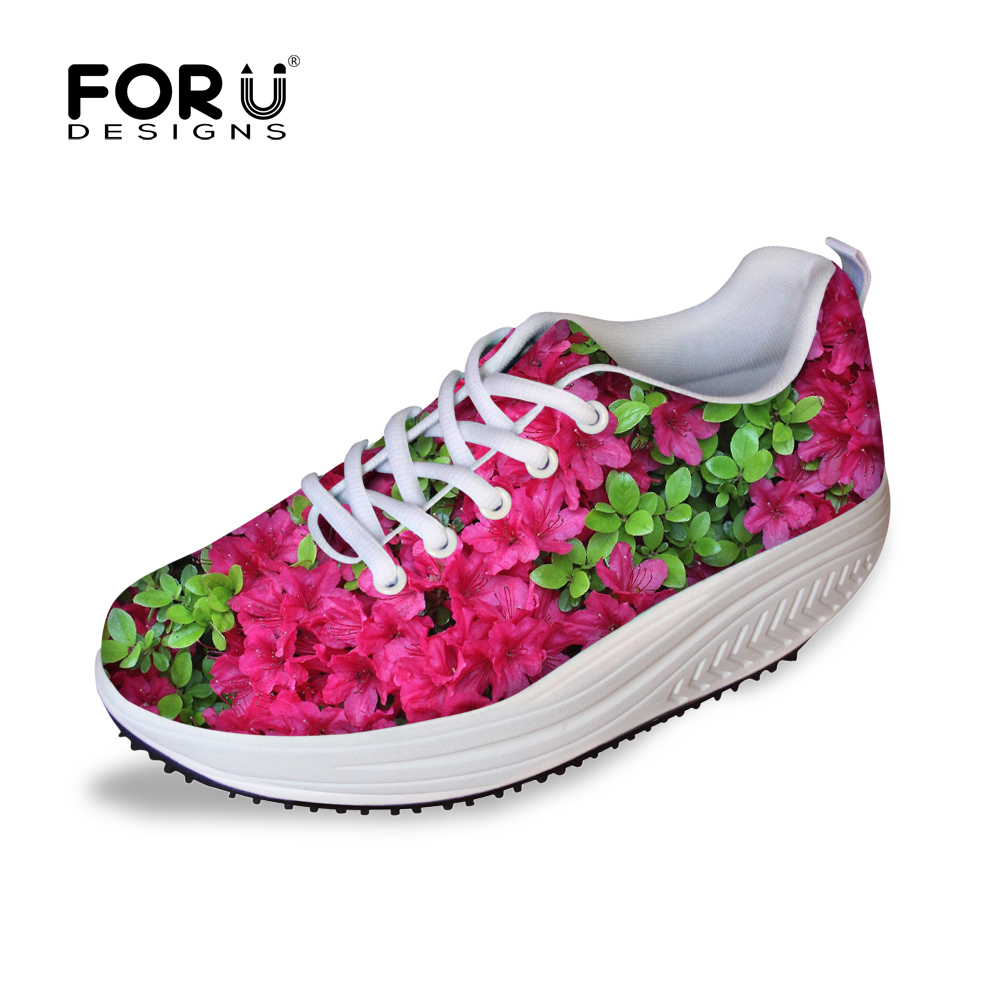 FORUDESIGNS New Women Casual Platforms Shoes,Female Fashion Colorful Printing Swing Shoes,Breathable Lace-Up Ladies Mesh Shoes<br>