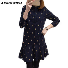 Buy Plus Size Women Clothing Spring New Print Dress Korean Style Slim Cute Female Turn Collar Dresses Girls XL-5XL QYX116 for $18.54 in AliExpress store