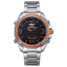 Epozz Top Luxury Men Sport Quartz Watch LED Display Full Stainless Steel Black Dial Army Watches Orange relogio masculino EP2306(China)