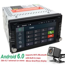 "QuadCore Android 6.0 WIFI 7""Double 2DIN Car Radio Stereo DVD Player GPS Nav steering wheel OBD2 Front USB/DVR Camera SD DAB DVBT"