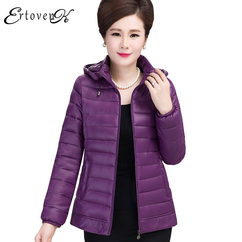 Middle age Women Short section Winter Coat 2017 New Hooded Plus size Light Thin Feather Cotton Femmes Jacket Casaco feminino C66Îäåæäà è àêñåññóàðû<br><br>