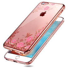 Glitter Diamond Frame cases For iphone 5S 5 SE 6 6S 6PLUS 6SPLUS 7 7 Plus case Silicone Transparent Rhinestone flower pattern