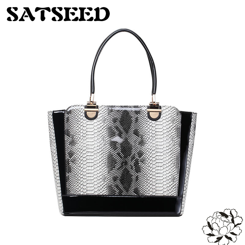Snake Scale Fashion Handbags Korean Style 2017 New PU Totes Women Dress Bags Patent Leather Hollow Bags<br>