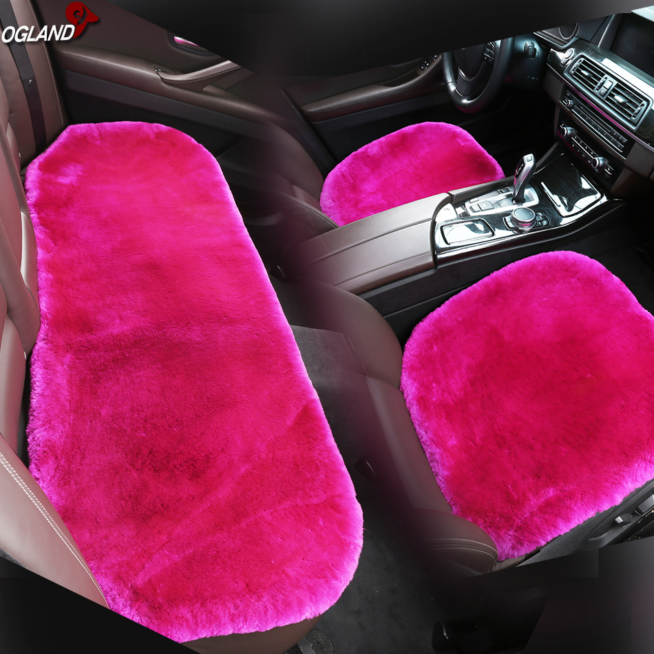 3Pcs//Set Car Genuine Sheepskin Full set Seat Covers Cushions Mat Long Wool Fur