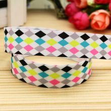 7/8'' Free shipping plaid printed grosgrain ribbon hairbow headwear party decoration diy wholesale OEM 22mm P5349