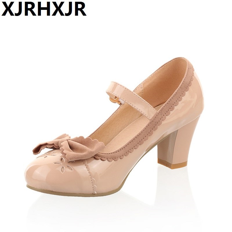 XJRHXJR Sweet Princess Party Shoes Leather Women Pumps Cosplay Bow Thick Heels Buckle Straps Round Toe Platform Lolita Shoes<br>