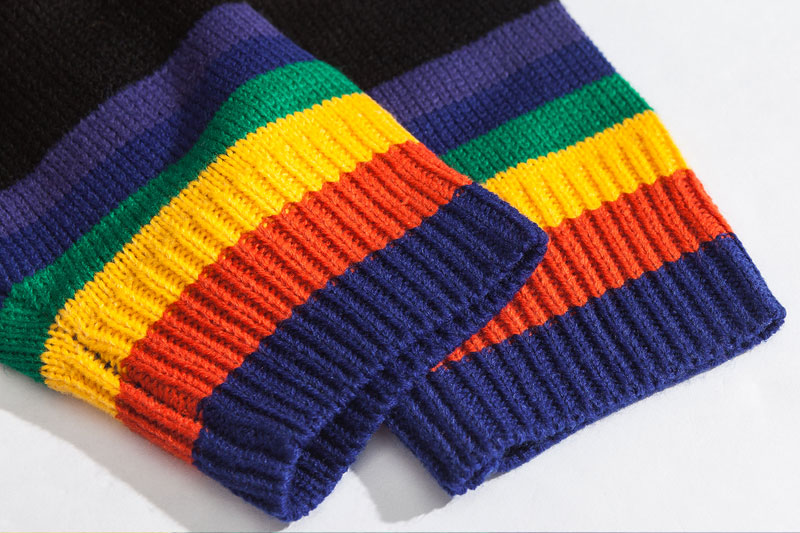 Rainbow Striped Knitted Pullover Sweaters 5
