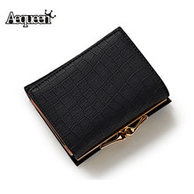 Buy AEQUEEN Crocodile Leather Gril Wallet Women Short Purses Lady Coin Purse Fashion Stone 3 Fold Wallets Girl ID Card Holders Brand for $5.81 in AliExpress store