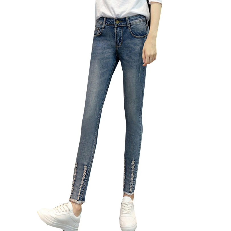 Skinny Women Jeans 2017 Mid Waist Washed Color Pantalones Mujer Street Style Ripped Denim Trousers Fashion 26-31 Pencil PantsОдежда и ак�е��уары<br><br><br>Aliexpress