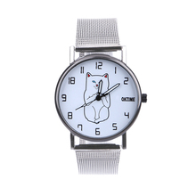 Women Fashion Mesh Band Analog Quartz Round Cat Wrist Watch Watches