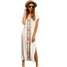 100% Cotton Women Boho White Embroidery Summer Beach Long Dresses V Neck Short Sleeve Placement Print Split Side Maxi Dress(China)