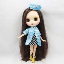 Fortune Days  Nude Blyth  doll  No.BL0222 Deep brown hair JOINT body Frosted skin Factory Blyth