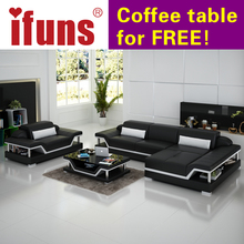 IFUNS salon furniture manufacturer,modern design living roomleather sofa set,top grain italian black&brown&white&orange&leather(China)