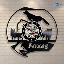 wall clock Fox Room Decor Vinyl Record Clock Wall Art Home Decor