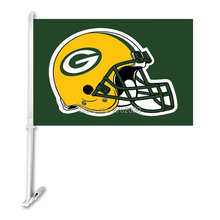Green Bay Packers Double Sided Car Flag Banner Super Bowl Champions 30x45cm Polyester Banner 50cm Plastic Flag Pole Car Products(China)