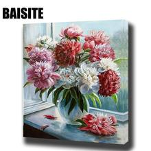 BAISITE DIY Framed Oil Painting By Numbers Flowers Pictures Canvas Painting For Living Room Wall Art Home Decor E794(China)