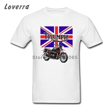 Cotton Jersey Tshirt CLASSIC PRINT TRIUMPH MOTORCYCLE Men T Shirts Short Sleeve Fitness Big Size Hip Hop Adult Brand Clothing(China)