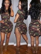 Fashion Military Dress Women Camouflage Bodycon Mini Dress Slit Knitting Short Sleeve Sexy Night Club vestidos femininos D6419
