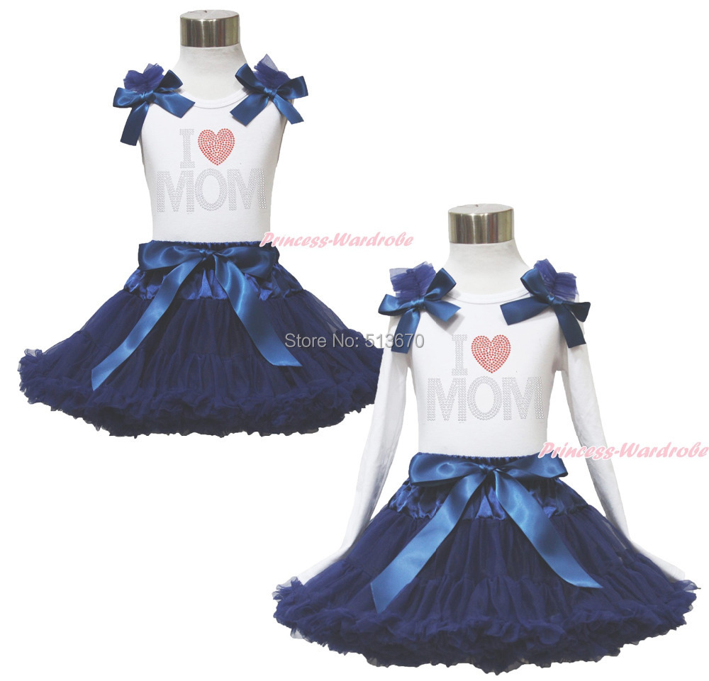 Rhinestone I Love Mom  White Pettitop Top Shirt Navy Blue Bow Pettiskirt Dress Set 1-8Y MAPSA0525<br>