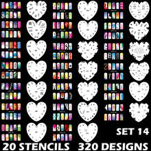 Custom Body Art Airbrush Nail Art Templates Stencil Set 14 with 20 Stencil Template Design Sheets 320 Designs(China)
