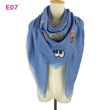 China Factory Square Plain cotton Wrap Scarves Shawl Solid Color Women Oversize Fashion Scarf with Stamping Badge