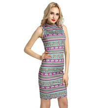 4XL Plus Size Women Solid Pencil Dress High Neck Sleeveless Cut Out Back Midi Bodycon Dress Sexy Club Party One-Piece Clothing