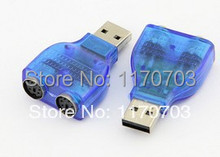20 pcs /lot free shipping to USA USB TO PS2 PS/2 Adapter Connector PC Mouse Keyboard