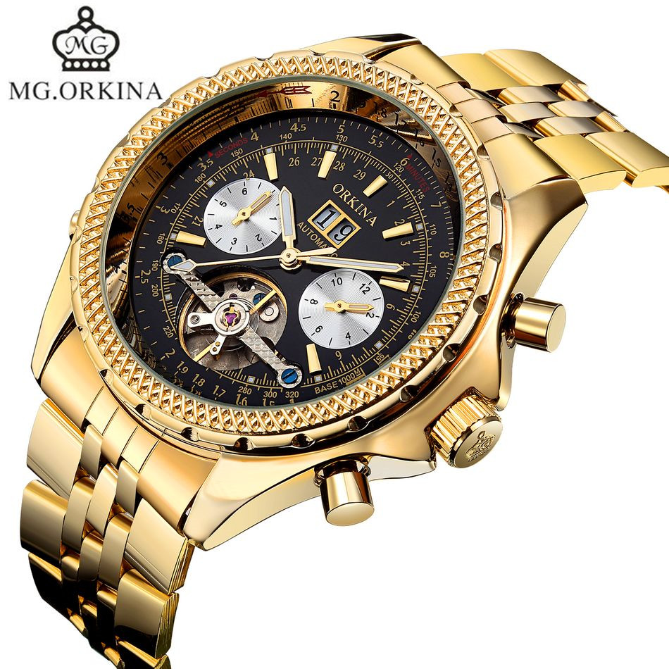 Original MG.Orkina Orologio Uomo Luxury Day Flywheel Automatic Mechanical Watch Wristwatch Gift Box Free Ship<br>