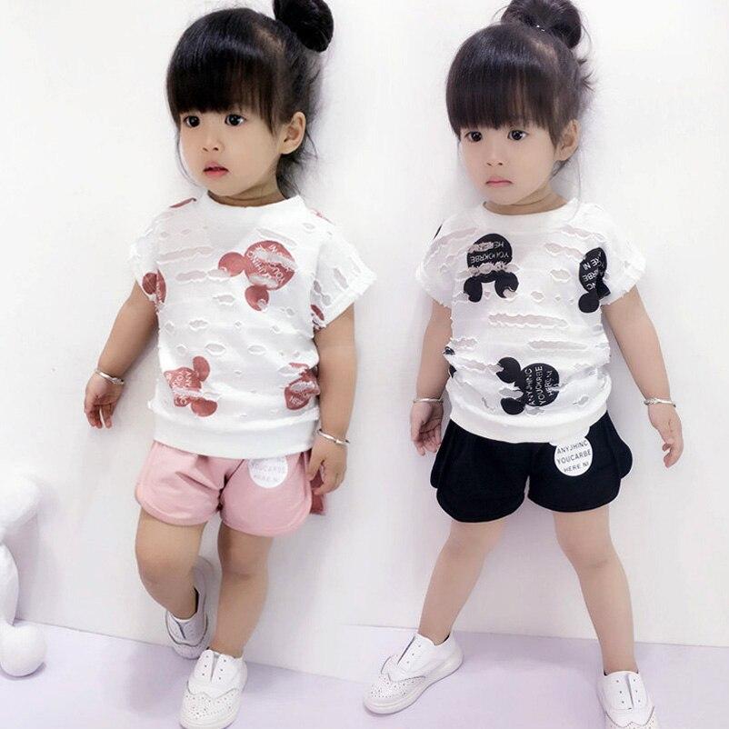 2PC Summer Girls Cartoon Outfits Baby Short Sleeve T-shirt + shorts  Kids Clothing Set Children Hole Tops Tee<br><br>Aliexpress