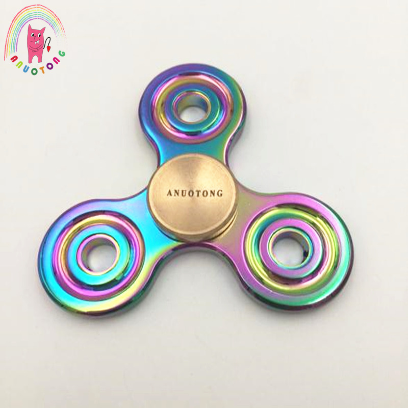 ANUOTONG Tri-Spinner Fidget Spinner metal Colorful EDC Hand Spinner fidget Spinner Autism ADHD Anti Stress