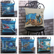 Marine Ocean Style Sea Turtle animals Pillow case Cushion Cover Car chair sofa office club coffee shop Home Decoration for gift(China)