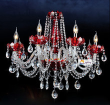 Deluxe 8-arm wine red crystal chandelier indoor novelty lighting crystal hanging lamps luxury led chandeliers living room light(China)