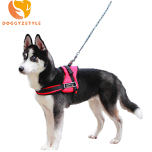 Reflective Firm Pet Service Dog Harness For Medium Large Breed Samoyed Husky Sports Dog Harness,Black/Red,Size S/M/L/XL