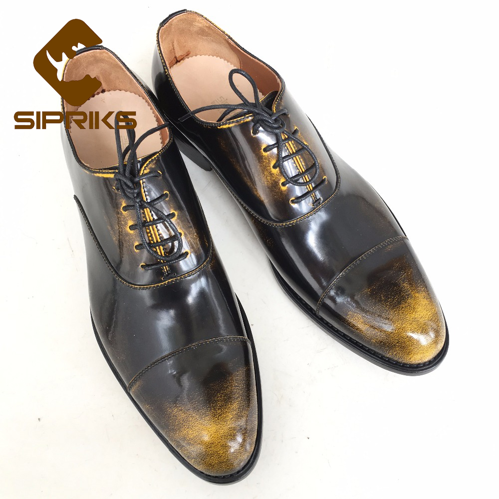 SIPRIKS mens goodyear welted shoes vintage cap toe mens oxford shoes italian custom unique boss leather shoes bronze dress shoes(China (Mainland))