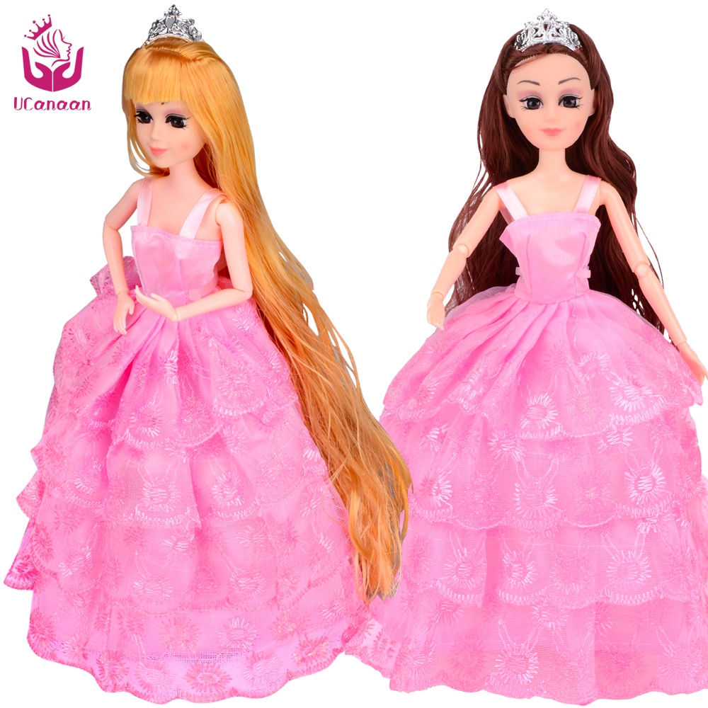UCanaan Fashion Princess Doll Pink Party Dress Dolls Wedding Dresses Long Thick Hair with Comb and Mirror New Year Toys Gift<br><br>Aliexpress