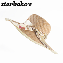 Spring Wholesale and Retail Fashion Women Wide Large Brim Floppy Summer Beach SunHats Straw Cap with big bow Brand sterbakov hat
