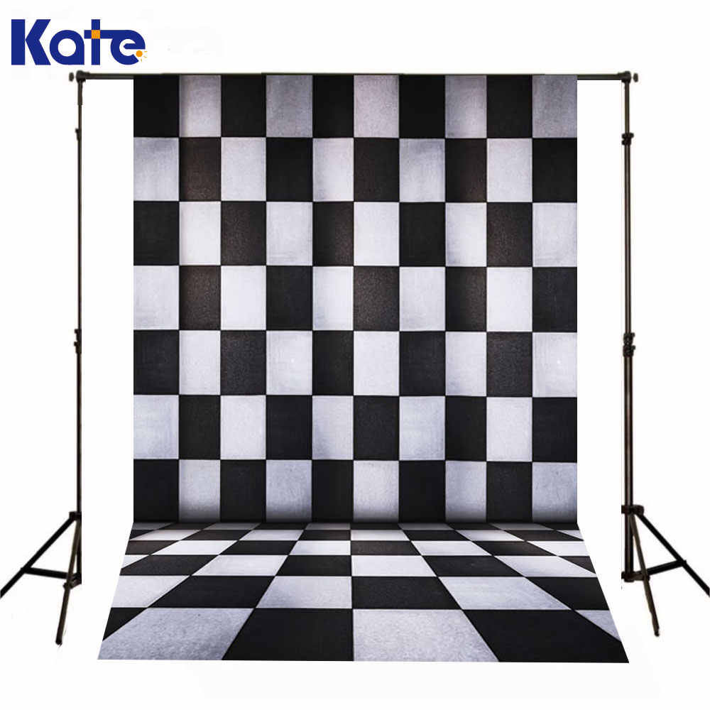 Kate Photography Backdrops Newborn Baby Black And White Grid Fondo Navidad Chess Board Backgrounds For Photo Studio<br>
