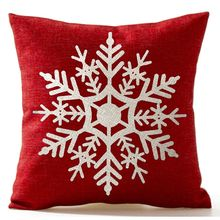 Beautiful Snowflake In Red Merry Christmas Gifts flax Throw Pillow Case Cushion Cover Home Decor 18 X 18 inch Black friday(China)