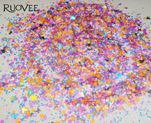 30g Solvent Resistant nail art glitter mix  Paillette Spangles Shapes  for DIY Make up (Hexagon+Butterfly+Diamond+Mickey)