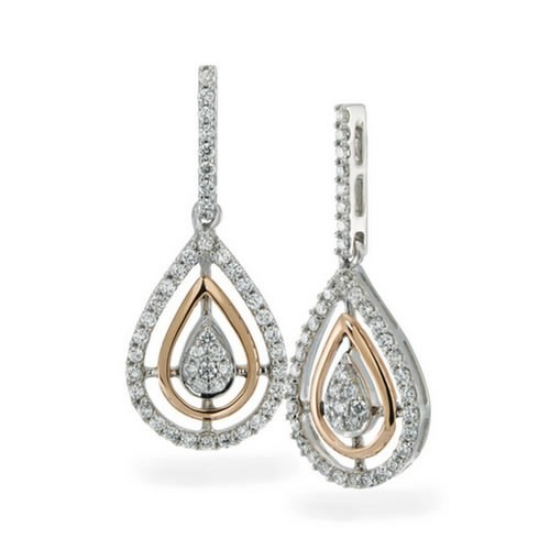 10K Rose Gold and Sterling Silver Natural Diamond Fashion Earrings 1/2 ct